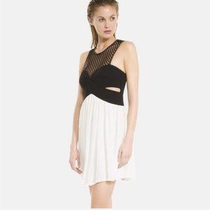 NWT Sandro Paris Black Lattice Cut Top Dress